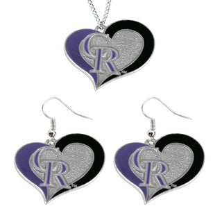 MLB Colorado Rockies Swirl Heart Necklace and Earring Set Charm Gift