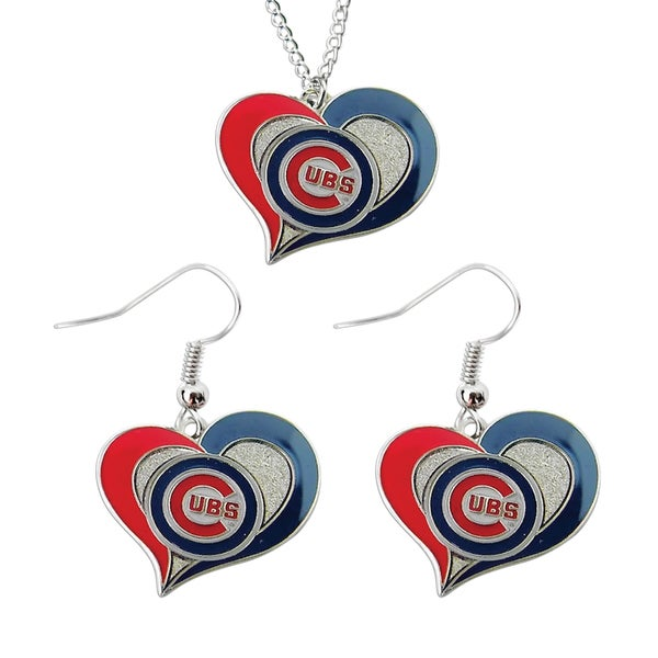 MLB Chicago Cubs Swirl Heart Necklace and Dangle Earring Set Charm Gift