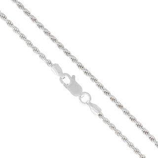 .925 Sterling Silver 2mm Solid Rope Diamond Cut ItProlux Chain Necklace