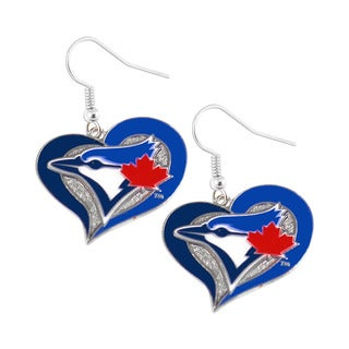 MLB Toronto Blue Jays Swirl Heart Dangle Earring Set Charm Gift