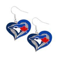 MLB Toronto Blue Jays Swirl Heart Dangle Earring Set Charm Gift