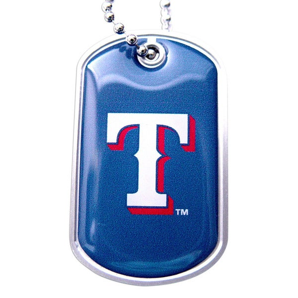 MLB Texas Rangers Dog Tag Domed Necklace Charm Chain