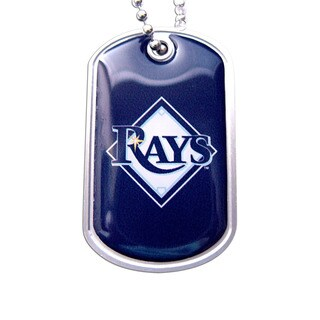 MLB Tampa Bay Rays Dog Tag Domed Necklace Charm Chain