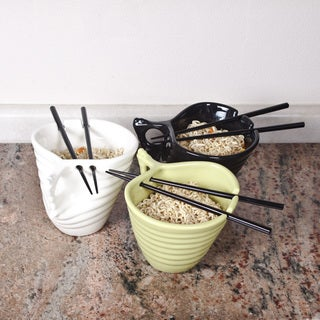 Handmade Cermic udon noodle bowl With Chopsticks