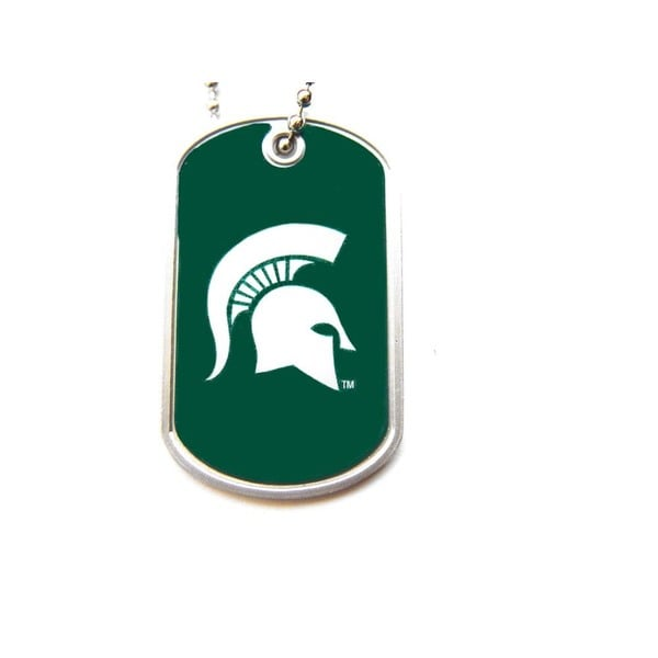 NCAA Michigan State Spartans Dog Tag Domed Necklace Charm Chain