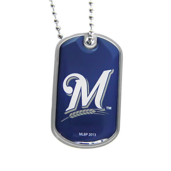 MLB Milwaukee Brewers Dog Tag Necklace Charm Chain