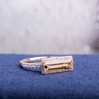 Miadora Yellow Gold Plated Sterling Silver Baguette Citrine and White Sapphire Halo Bar Ring