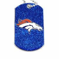 NFL Denver Broncos Dog Fan Tag Glitter Sparkle Necklace