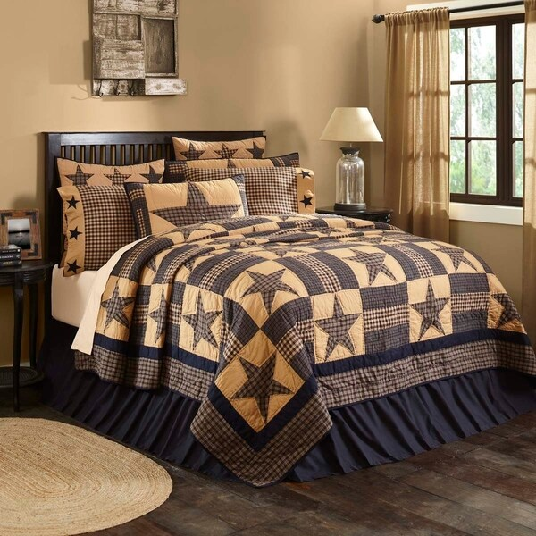 Tan Primitive Bedding VHC Teton Star Quilt Cotton Star Patchwork
