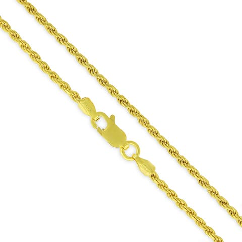 14K Yellow Gold Over Silver 2MM Rope Diamond-Cut Braided Twist .925 Necklace Chain, Gold Chain for Men & Women, Made in Italy
