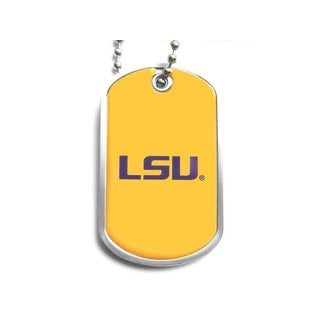 NCAA LSU Tigers Dog Tag Domed Necklace Charm Chain