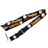 NFL Steelers Clip Lanyard Keychain Id Ticket - Black