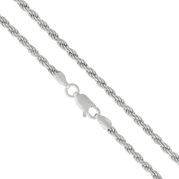 "Authentic Solid Sterling Silver 2.5mm Rope Diamond-Cut Braided Twist Link .925 Rhodium Necklace Chain 16"" - 30"", Made In Italy"