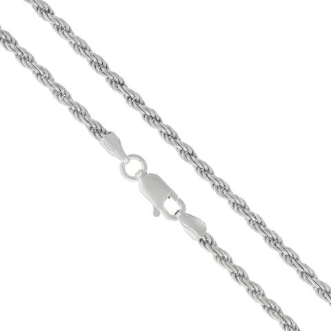 """Authentic Solid Sterling Silver 2.5mm Rope Diamond-Cut Braided Twist Link .925 Rhodium Necklace Chain 16"""" - 30"""", Made In Italy"""