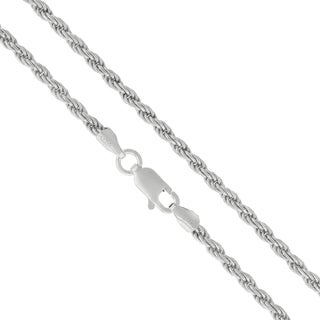 .925 Sterling Silver 2.5mm Solid Rope Diamond Cut Rhodium Chain Necklace