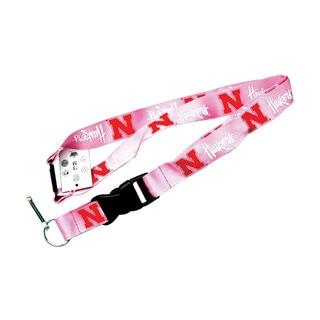 NFL Nebraska Cornhuskers Clip Lanyard Keychain Id Holder - Pink