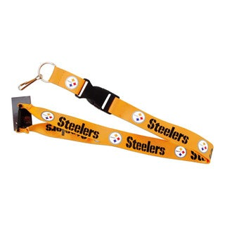NFL Steelers Gold Clip Lanyard Keychain Id Ticket - Gold
