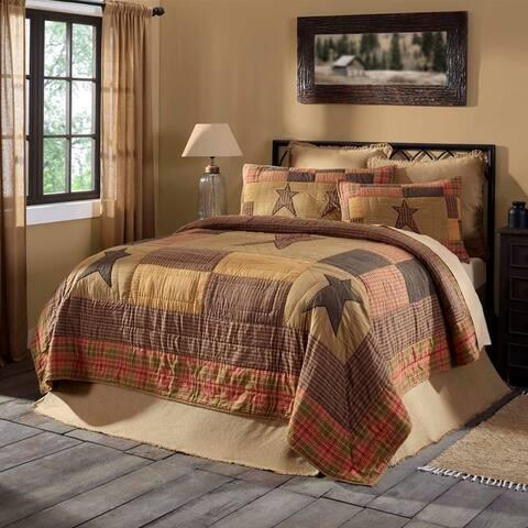 Tan Primitive Bedding Sutton Quilt Cotton Star Appliqued