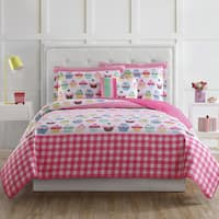 Laura Hart Kids Cupcake Stripe 3-piece Quilt Set with Bonus Decorative Pillow