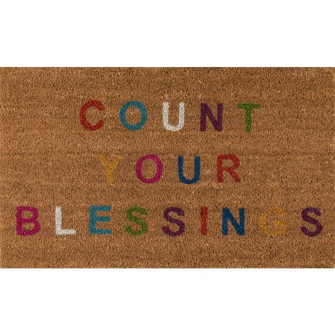 "Novogratz by Momeni Aloha Count Your Blessings Coir Doormat 1'6"" x 2'6"""