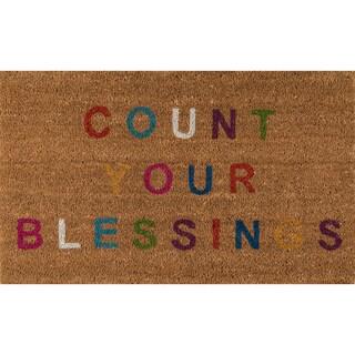 "Novogratz by Momeni Aloha Count Your Blessings Coir Doormat (1'6"" x 2'6"")"