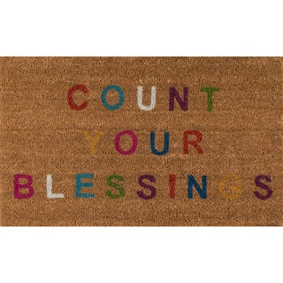 "Novogratz by Momeni Aloha Count Your Blessings Coir Doormat (1'6"" x 2'6"")"