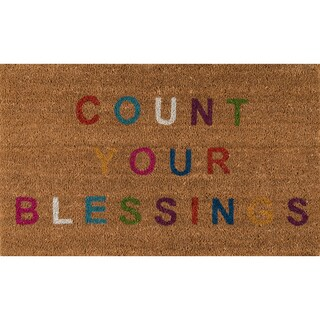 "Novogratz by Momeni Aloha Count Your Blessings Coir Doormat (1'6"" x 2'6"") (2 options available)"