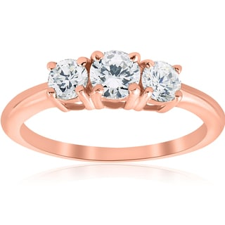 14k Rose Gold 1ct TDW Diamond Three Stone Engagement Ring (I-J, I2-I3)