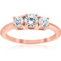 14k Rose Gold 1ct TDW Diamond Three Stone Engagement Ring (I-J, I2-I3)