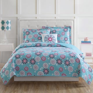 Laura Hart Kids Rosanna Medallion 3-piece Quilt Set with Bonus Decorative Pillow