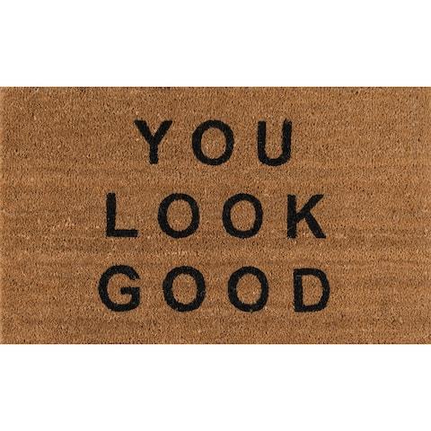 "Novogratz by Momeni Aloha You Look Good Coir Doormat 1'6"" x 2'6"""