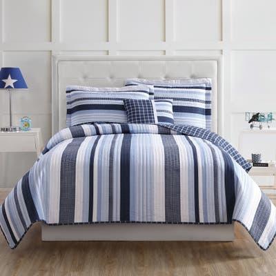 My World Mason Stripe 3-piece Quilt Set with Bonus Decorative Pillow