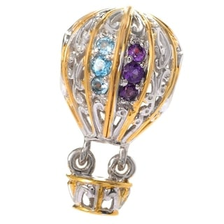 Michael Valitutti Palladium Silver Multi Gemstone Hot Air Balloon Drop Charm