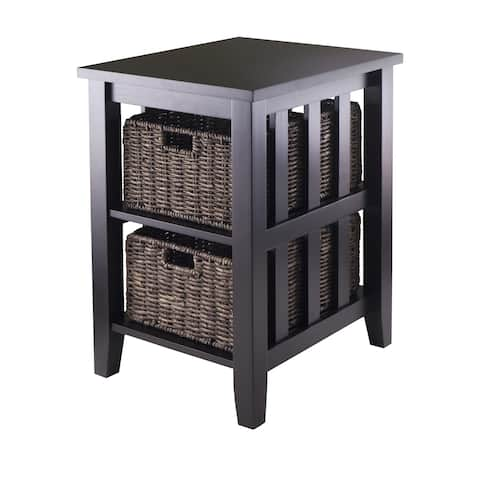 Copper Grove Shasta-Trinity Espresso Wood Side Table with 2 Foldable Wicker Baskets