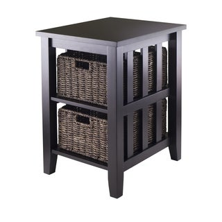 Morris Espresso Wood Side Table with 2 Foldable Wicker Baskets