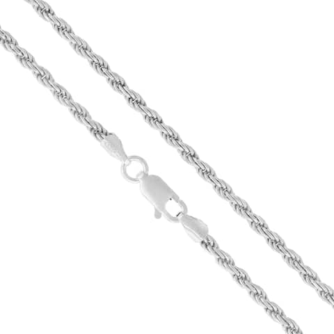 """Authentic Solid Sterling Silver 2.5mm Rope Diamond-Cut Braided Twist Link .925 ITProLux Necklace Chain 16"""" - 30"""", Made In Italy"""