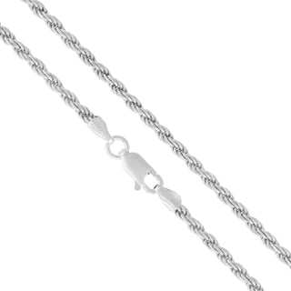 "Authentic Solid Sterling Silver 2.5mm Rope Diamond-Cut Braided Twist Link .925 ITProLux Necklace Chain 16"" - 30"", Made In Italy"