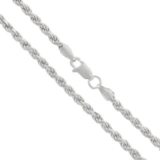 .925 Sterling Silver 3mm Solid Rope Diamond Cut Rhodium Chain Necklace