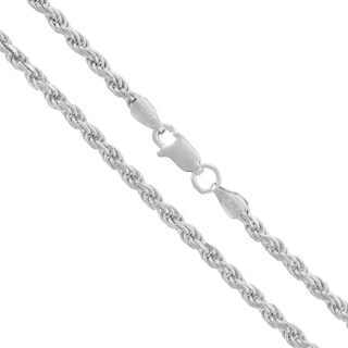 "Sterling Silver Italian 3mm Rope Diamond-Cut Link Solid 925 Rhodium Twisted Chain Necklace 20"" - 30"""