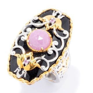Michael Valitutti Palladium Silver Paris Black Onyx & Pink Sapphire Scrollwork Overlay Elongated Ring