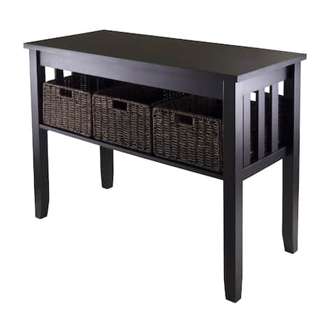 Copper Grove Shasta-Trinity Wood/ MDF Console/ Hall Table with 3 Foldable Wicker Baskets