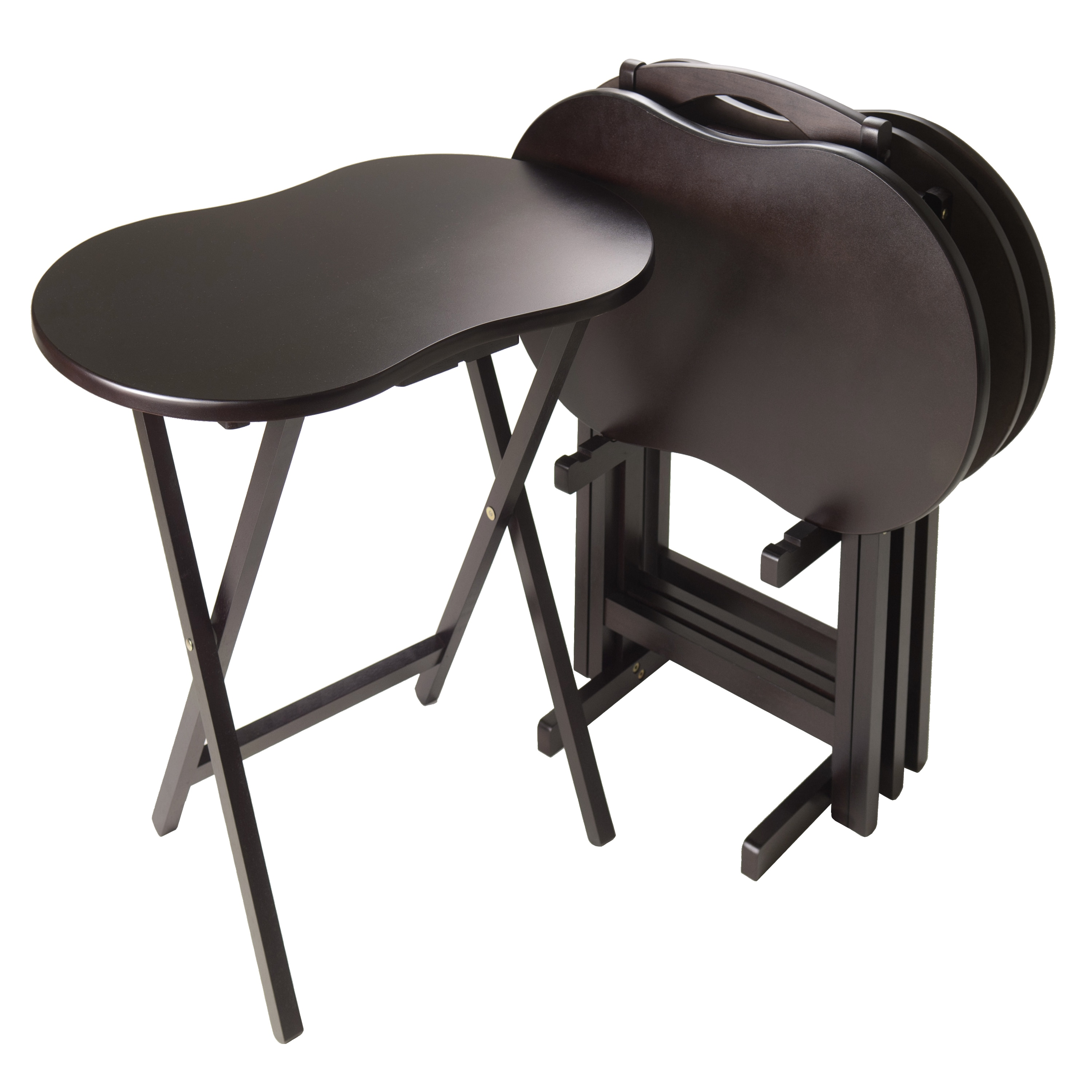 Transitional Snack Table Set Curved Top Base Legs Wooden Frame Black Finish  (5)