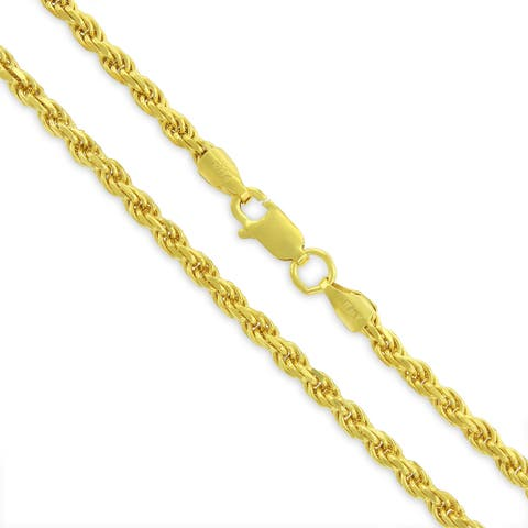 14K Yellow Gold Over Silver 3MM Rope Diamond-Cut Braided Twist .925 Necklace Chain, Gold Chain for Men & Women, Made in Italy
