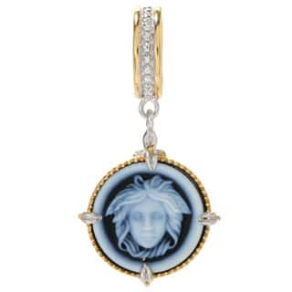 Michael Valitutti Palladium Silver Carved Agate Medusa Cameo Drop Charm|https://ak1.ostkcdn.com/images/products/15389478/P21848005.jpg?impolicy=medium