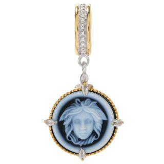 Michael Valitutti Palladium Silver Carved Agate Medusa Cameo Drop Charm
