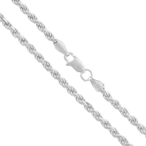 "Authentic Solid Sterling Silver 3mm Rope Diamond-Cut Braided Twist Link .925 ITProLux Necklace Chain 16"" - 30"", Made In Italy"