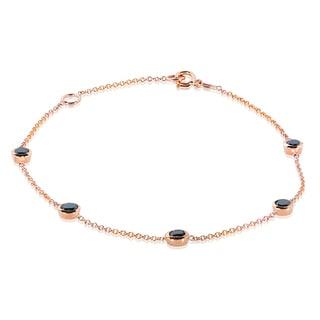 Annello by Kobelli 14k Gold 1ct TDW Black Diamond Bezel Station Bracelet