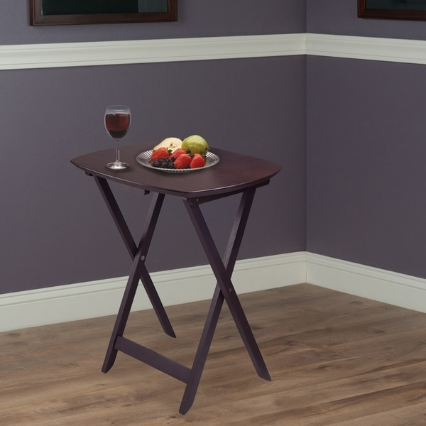 Coaster 4 Transitional Tray Tables with Stand in Oak