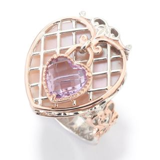 "Michael Valitutti Palladium Silver Paris ""Love Locks"" Heart Shaped Mother-of-Pearl & Pink Amethyst Ring"