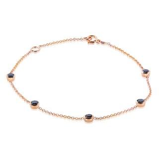 Annello by Kobelli 14k Gold 1/2ct TDW Black Diamond Bezel Station Bracelet